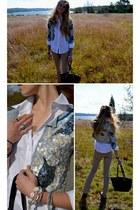 cynthia rowley cardigan - Brooks Brothers shirt - kate spade bag - BCBG pants