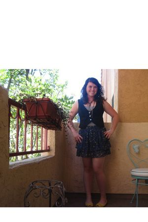 blue BP skirt - black Charlotte Russe vest - gray abercrombie and fitch top - ye