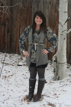 heather gray BP vest - blue BP dress - dark brown naturalizer boots - gold BP be