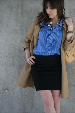 blue Ralph Lauren blouse - black H&M skirt - beige H&M coat - beige Chanel acces