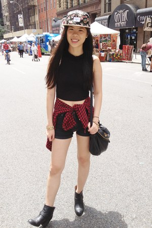 floral Urban Outfitters hat - black Forever 21 boots - ruby red Forever 21 shirt