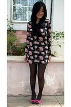 pink next shoes - black stockings - black dress