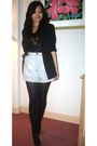 Black-blazer-black-top-blue-shorts-black-marks-and-spencers-tights-black
