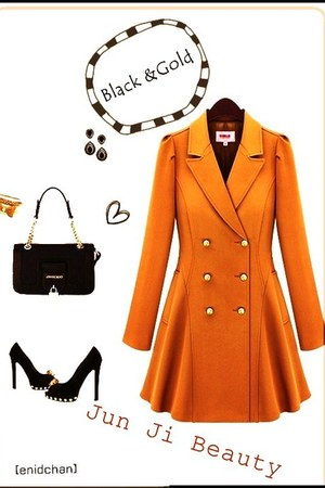 light orange coat - black bag - black heels