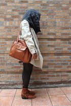 beige Zara jacket - blue Levis shirt - red J Crew skirt - black tights - brown F