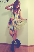 multicolored Sheinside dress - lace-up booties just fab wedges