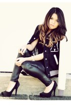 black Forever 21 jacket - black faux leather Sheinside leggings