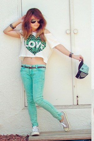 white crop top Forever 21 shirt - aquamarine color Forever 21 pants