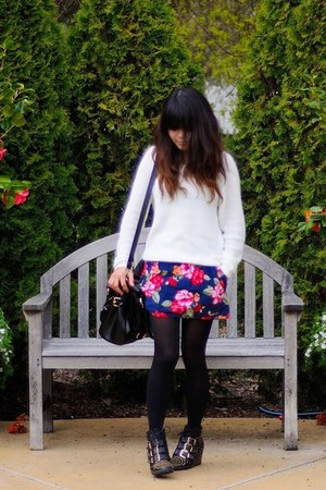 navy floral skirt hollister skirt - white cable knit Forever 21 sweater