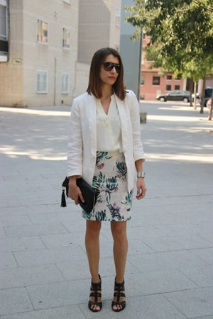 H&M skirt - H&M blazer - H&M bag - carrera sunglasses - Lefties blouse