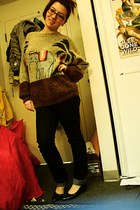 black skinny jeans Bluenotes jeans - tawny elephant sweater - navy patchwork hee