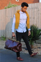 pink shoes - mustard sweater - sky blue shirt - tawny bag - black pants