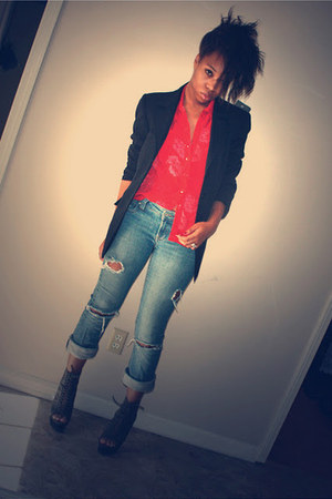 dark khaki Shoedazzle boots - blue torn diy Charlotte Russe jeans