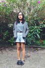 Forest-green-shoes-light-blue-jeans-shorts-charcoal-gray-top