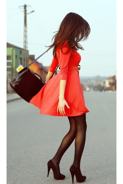 dress - tights - heels