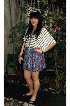 tribal print Forever 21 skirt - radio satchel Elan Bijoux bag