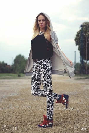 heather gray SH blouse - black H&M pants - red Ebay sneakers