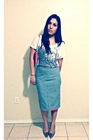 heather gray handmade skirt - white Forever 21 shirt - Target heels