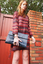 brick red Zara dress - navy Oroton bag