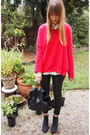 Black-zara-jeans-white-zara-shirt-hot-pink-stella-mccartney-jumper