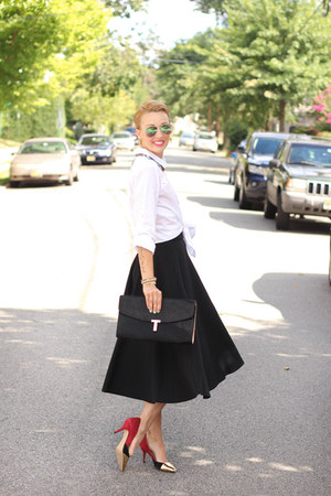 H&M skirt - ted baker bag - Zara heels - H&M top