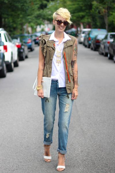 Stella and Dot necklace - asos jeans - The Limited bag - Karen Walker sunglasses