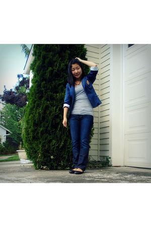 blue Ciel boutique blazer - blue banana republic jeans - black Cathy Jean shoes