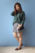 dark green kashieca shirt - striped vintage shorts