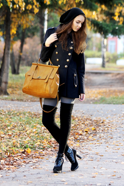 gold bag - black DKNY boots - navy asos coat - heather gray Gipsy tights