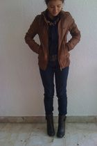 brown Zara jacket - blue Loft shirt - Zara jeans - sonoma shoes