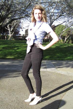 blue American Apparel shirt - black American Apparel pants - pink American Appar