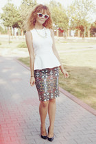 printed Zara skirt - white peplum Zara top - black Zara heels