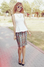 Printed-zara-skirt-white-peplum-zara-top-black-zara-heels