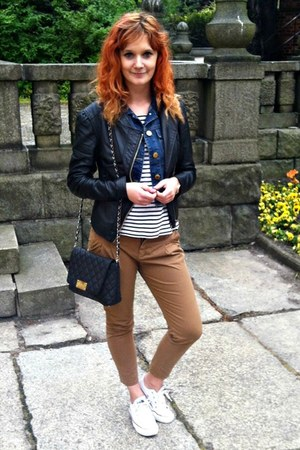 brown Zara pants - white Converse sneakers