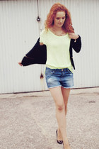 lime green neon Zara t-shirt - blue Zara shorts - black vinyl Zara heels