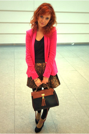 brown leopard print skirt - hot pink Zara blazer - Aldo bag - black H&M wedges