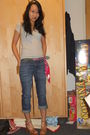 Silver-uniqlo-t-shirt-blue-gap-jeans-brown-vintage-shoes-red-unknown-scarf