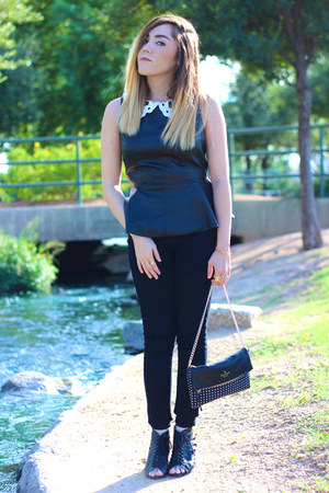 Forever 21 top - kate spade purse - Forever 21 wedges - Forever 21 pants