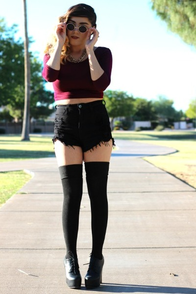 Forever 21 boots - priceless shorts - priceless stockings - priceless top