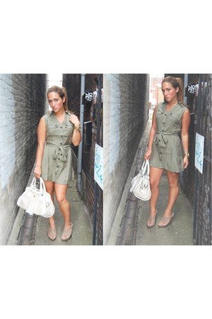 camel strappy sandals envy shoes - olive green Bluebird dress - ivory tassel bag