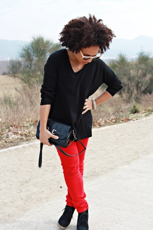 red Bershka pants - black Mango boots - black Mango sweater - black Mango bag