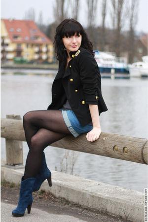 black no brand jacket - blue H&M shorts - blue Minelli boots