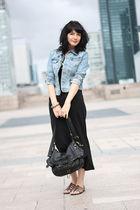blue H&M jacket - black Topshop dress - brown best montain shoes