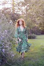 green maxi dress Sheinside dress