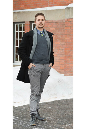 black Aldo boots - Frank & Oak shirt - heather gray H&M pants