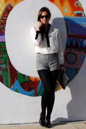 heather gray HyM shorts - black Zara boots - gray Zara bag - white HyM blouse