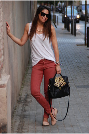 coral Zara jeans - light pink Dorothy Perkins shoes - black Topshop bag
