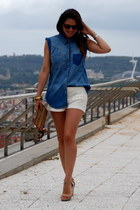 blue suiteblanco blouse - bronze Bimba&Lola bag - cream Zara shorts