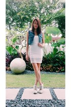 sky blue denim Pull & Bear vest - white lace Bershka dress
