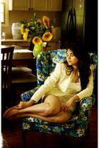 ivory lace thrifted vintage blazer - mustard mustard Bellini flats - white white
